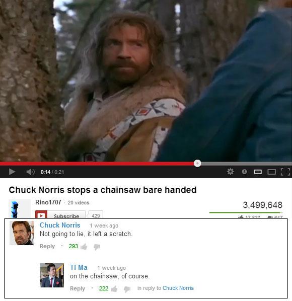 Chuck Norris Stops A Chainsaw Bare Handed - Shenhuifu