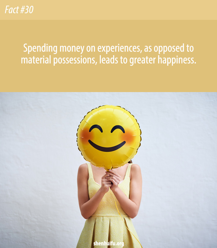 Experiences result in longer-lasting happiness than material possessions.