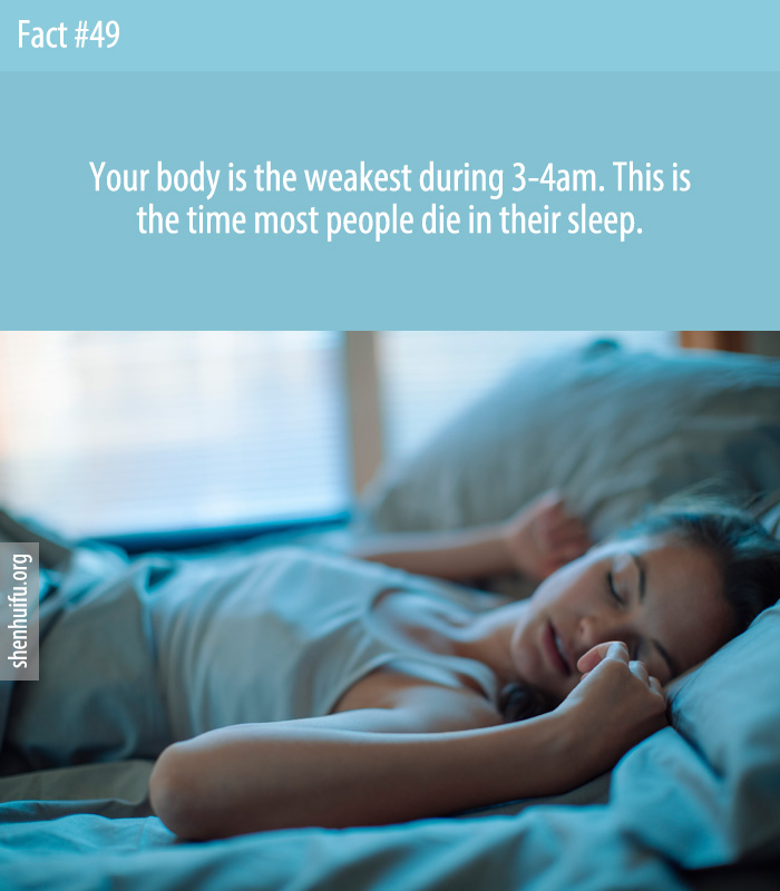 This is the time most people die in their sleep. 3-4am is when we begin to repair which causes the body to stop working as hard.