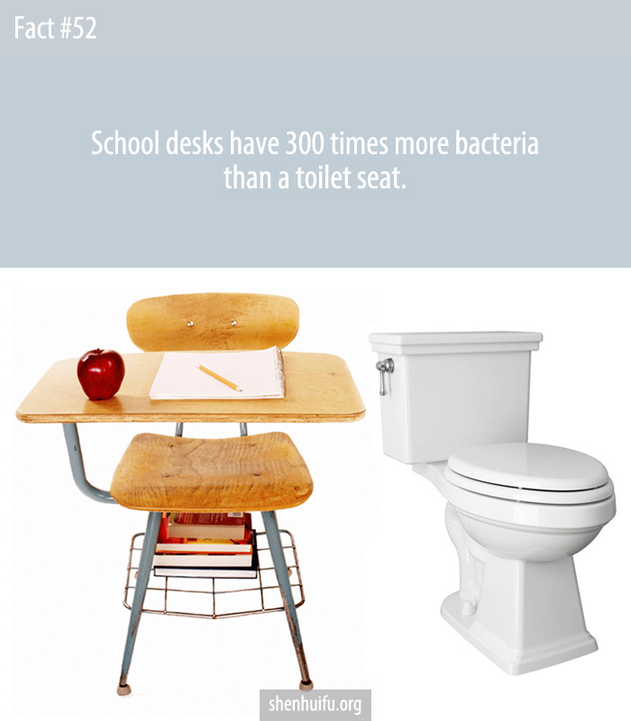 The average desk harbors about 400 times more bacteria than the average toilet seat.