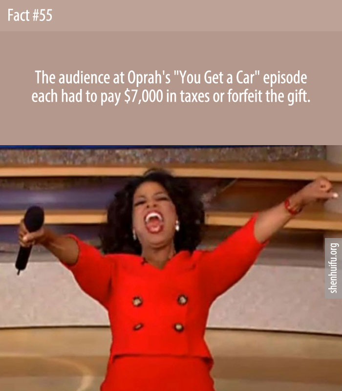 The audience at Oprah's 'You Get a Car' episode each had to pay $7,000 in taxes or forfeit the gift.