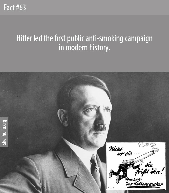 Hitler led the first public anti-smoking campaign in modern history.