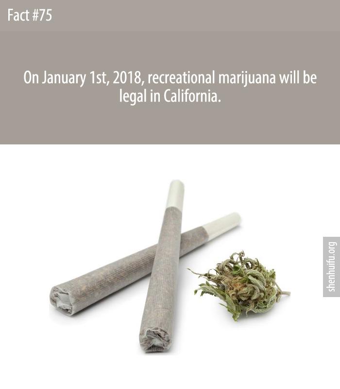 On January 1st, 2018, recreational marijuana will be legal in California.