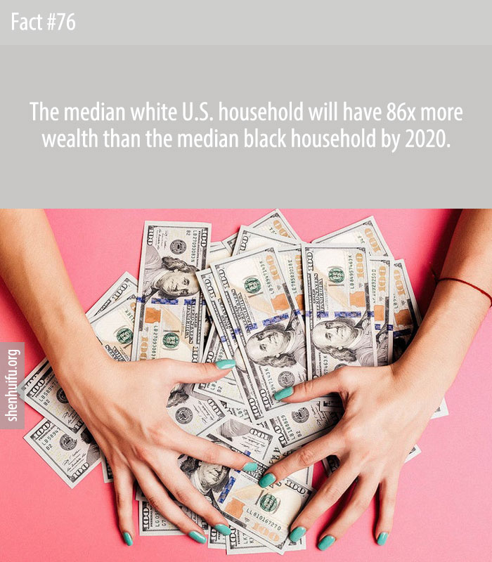 The median white U.S. household will have 86x more wealth than the median black household by 2020.