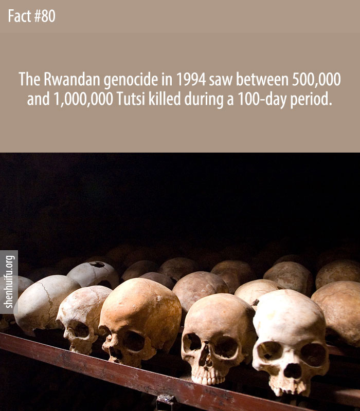 The Rwandan genocide in 1994 saw between 500,000 and 1,000,000 Tutsi killed during a 100-day period.