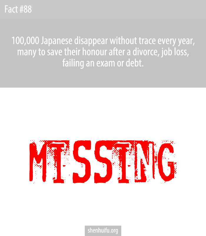 100,000 Japanese disappear without trace every year, many to save their honour after a divorce, job loss, failing an exam or debt.