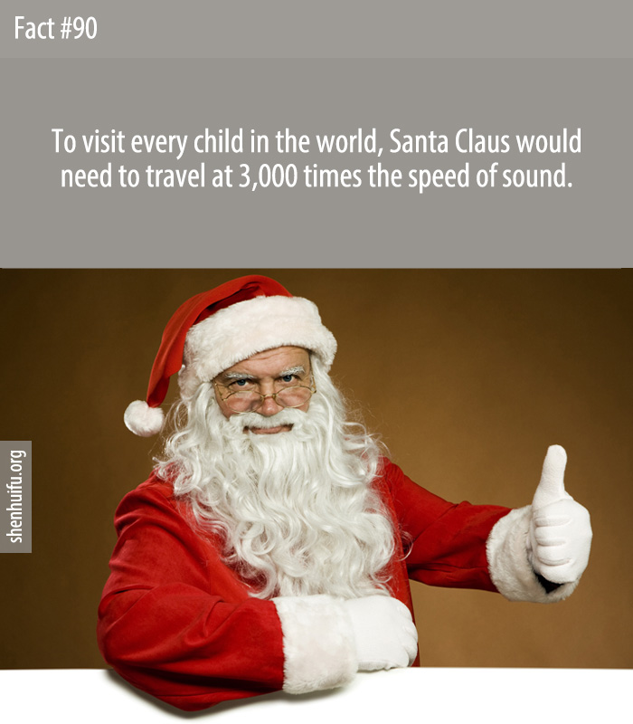 To visit every child in the world, Santa Claus would need to travel at 3,000 times the speed of sound.
