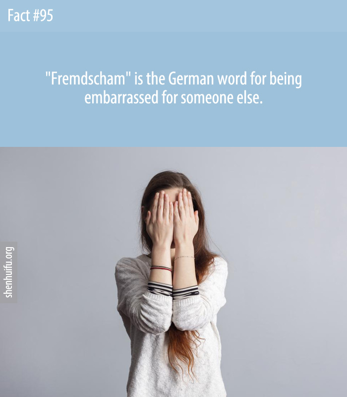 Fremdscham is the German word for being embarrassed for someone else.