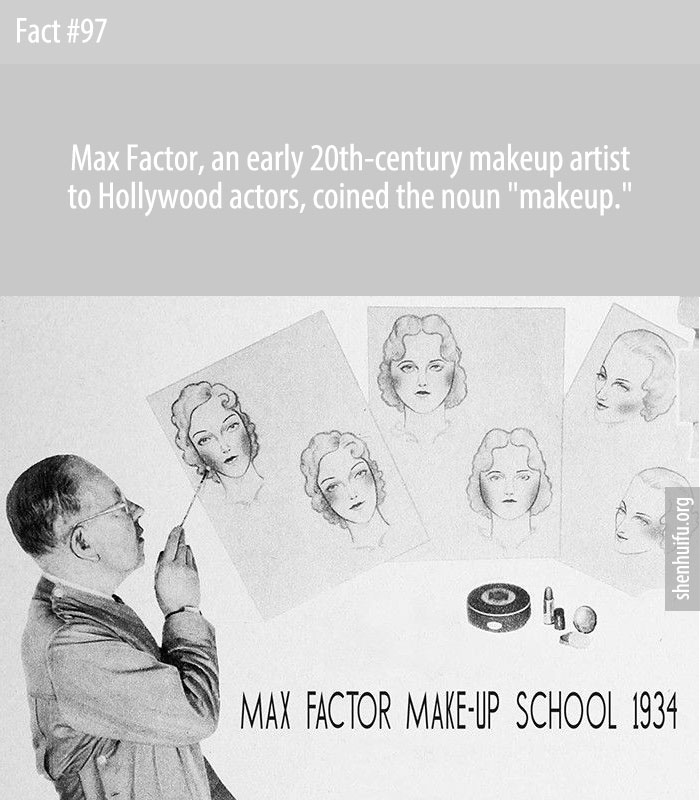 Max Factor, an early 20th-century makeup artist to Hollywood actors, coined the noun 'makeup.'