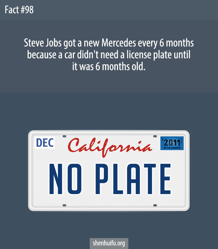 Steve Jobs got a new Mercedes every 6 months because a car didn't need a license plate until it was 6 months old.