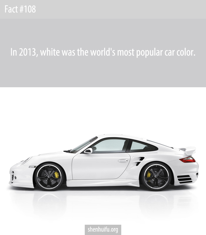 In 2013, white was the world's most popular car color.