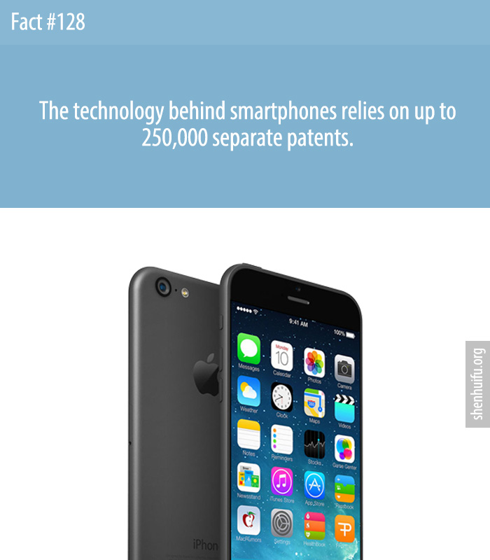 The technology behind smartphones relies on up to 250,000 separate patents.