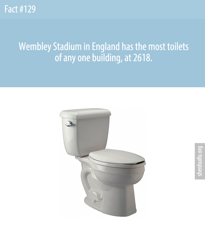 Wembley Stadium in England has the most toilets of any one building, at 2618.