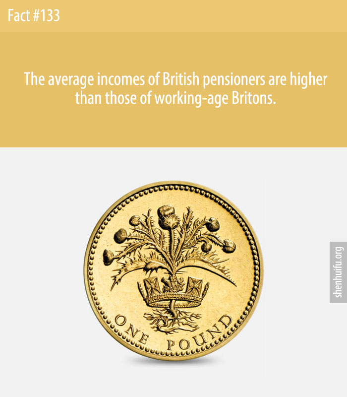 The average incomes of British pensioners are higher than those of working-age Britons.