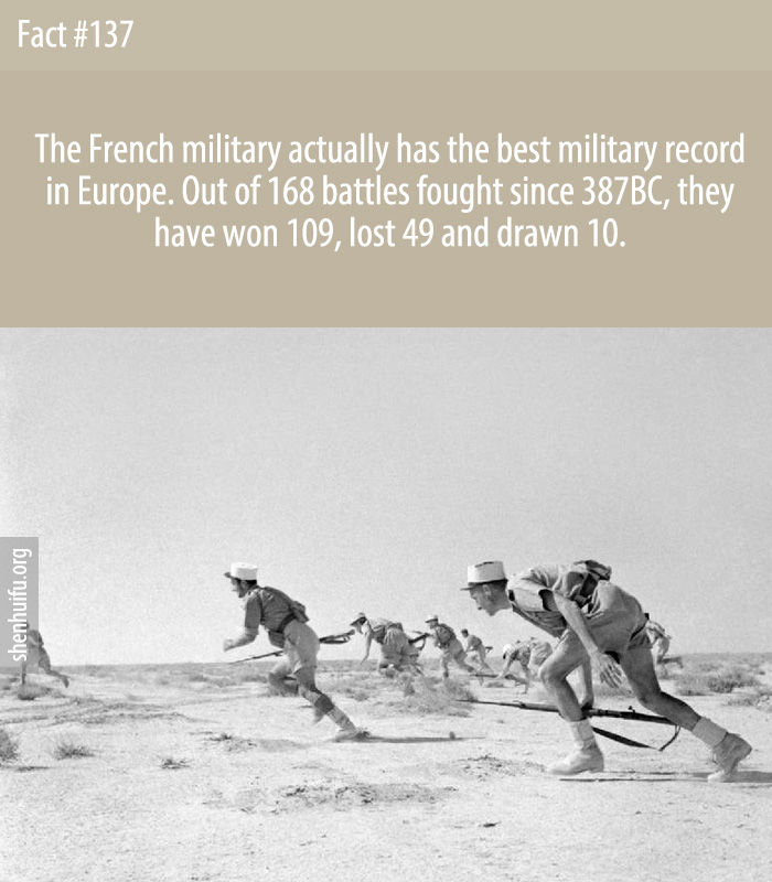 The French military actually has the best military record in Europe. Out of 168 battles fought since 387BC, they have won 109, lost 49 and drawn 10.
