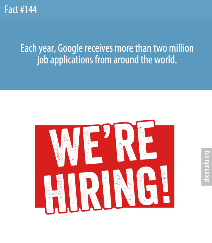 Each year, Google receives more than two million job applications from around the world.