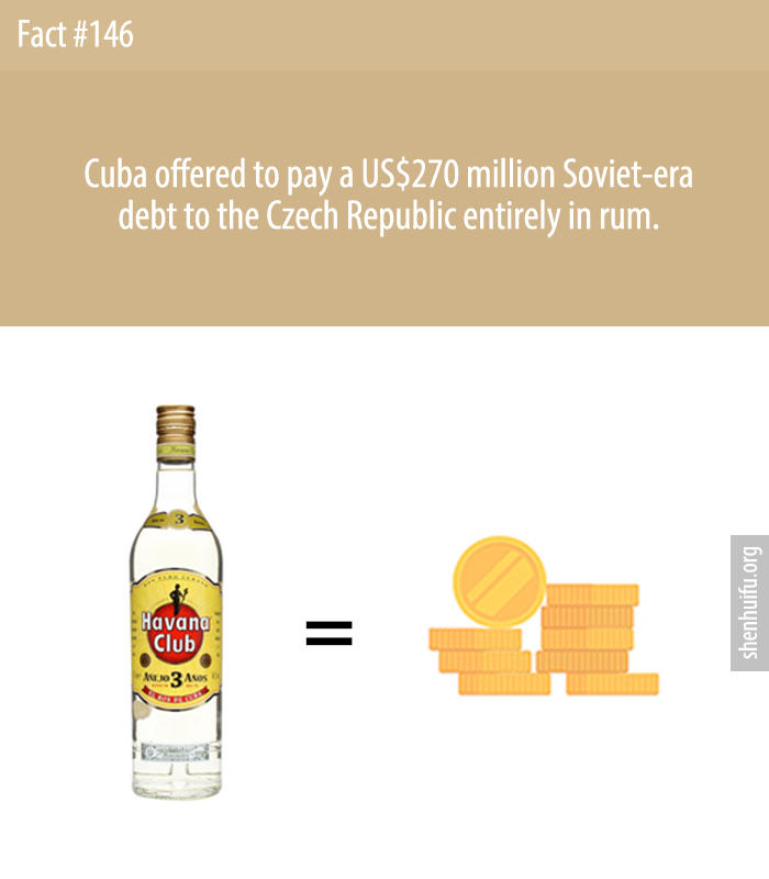 Cuba offered to pay a US$270 million Soviet-era debt to the Czech Republic entirely in rum.