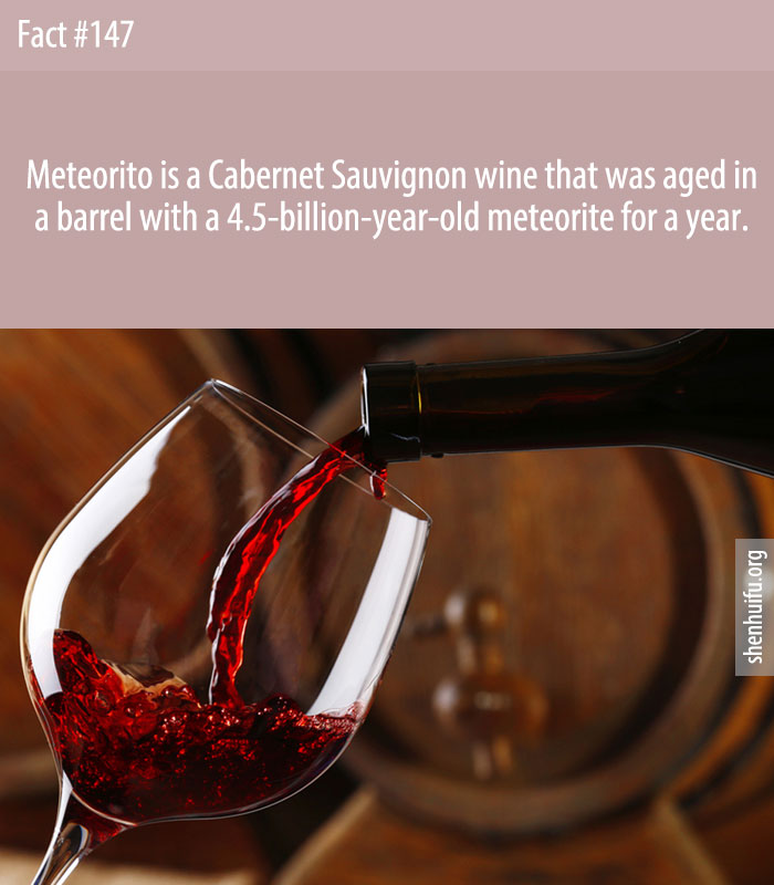 Meteorito is a Cabernet Sauvignon wine that was aged in a barrel with a 4.5-billion-year-old meteorite for a year.