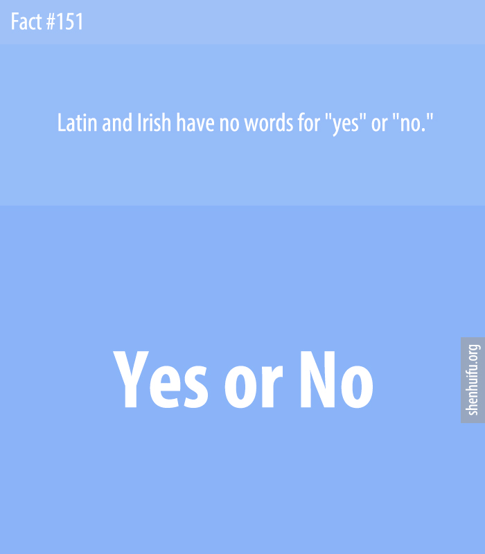 Latin and Irish have no words for 'yes' or 'no.'