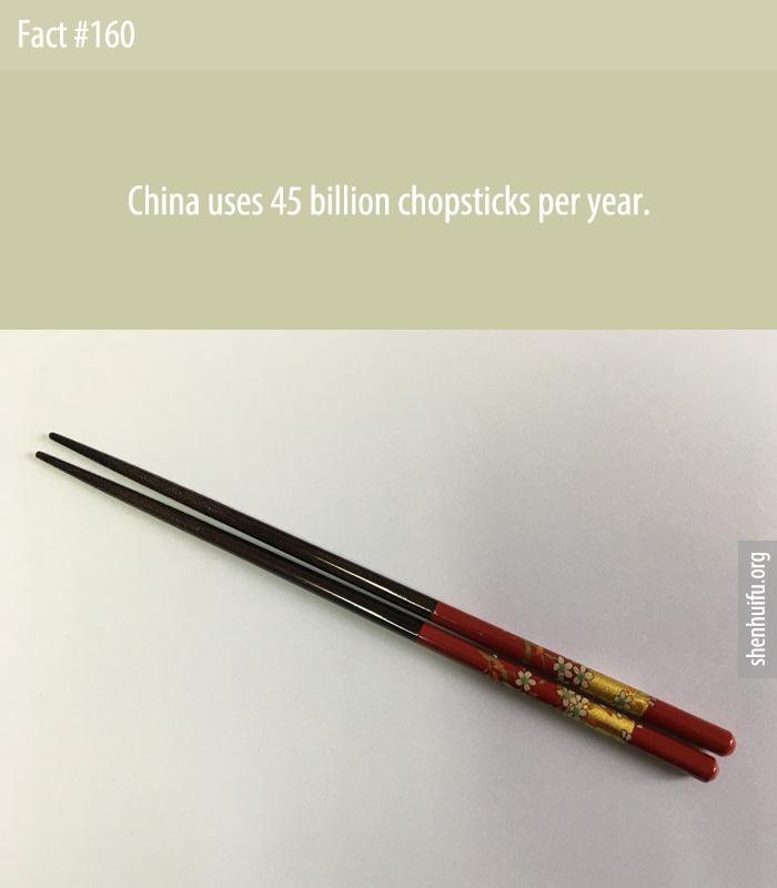 China uses 45 billion chopsticks per year.