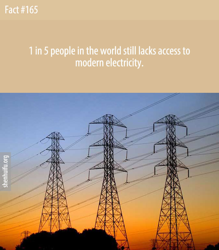 1 in 5 people in the world still lacks access to modern electricity.