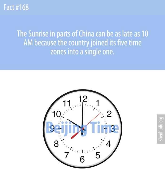 The Sunrise in parts of China can  be as late as 10 AM because the country joined its five time zones into a single one.