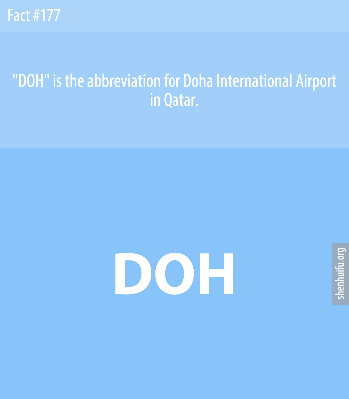 'DOH' is the abbreviation for Doha International Airport in Qatar.