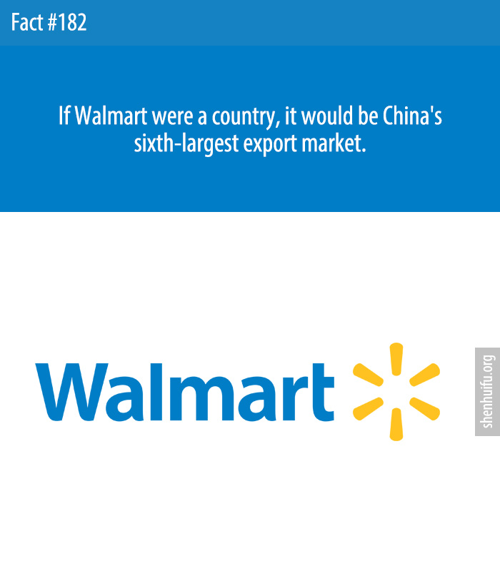 If Walmart were a country, it would be China's sixth-largest export market.