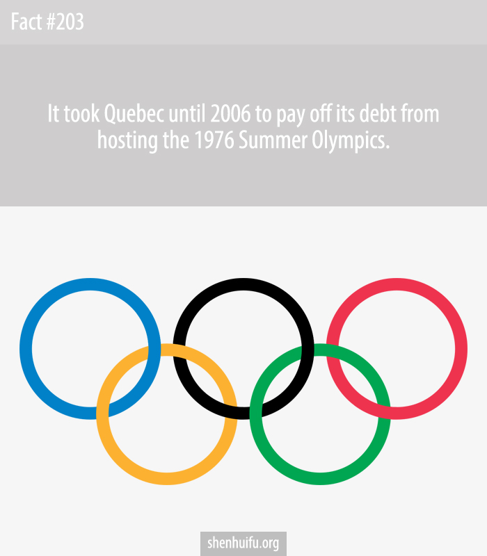 It took Quebec until 2006 to pay off its debt from hosting the 1976 Summer Olympics.