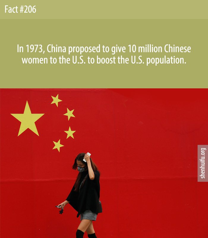 In 1973, China proposed to give 10 million Chinese women to the U.S. to boost the U.S. population.
