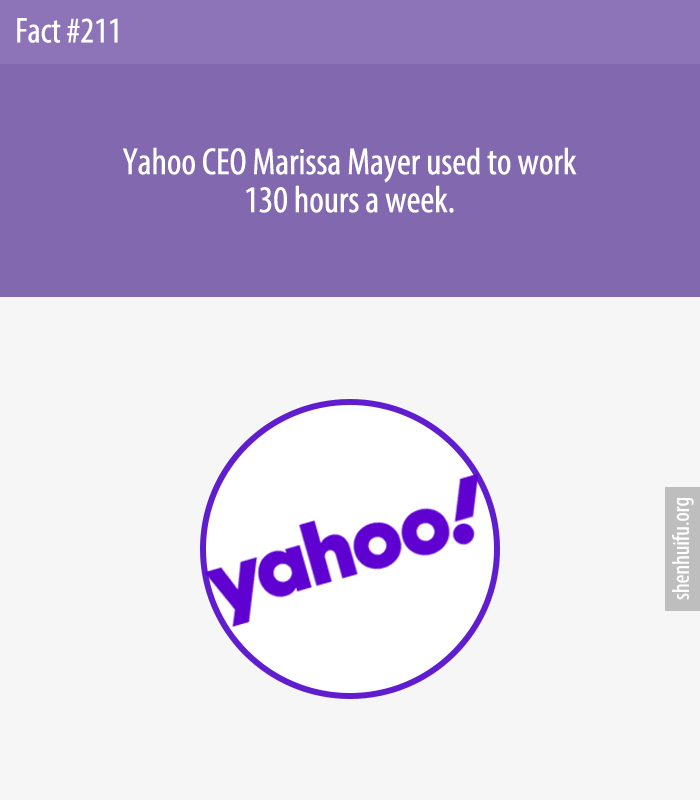 Yahoo CEO Marissa Mayer used to work 130 hours a week.