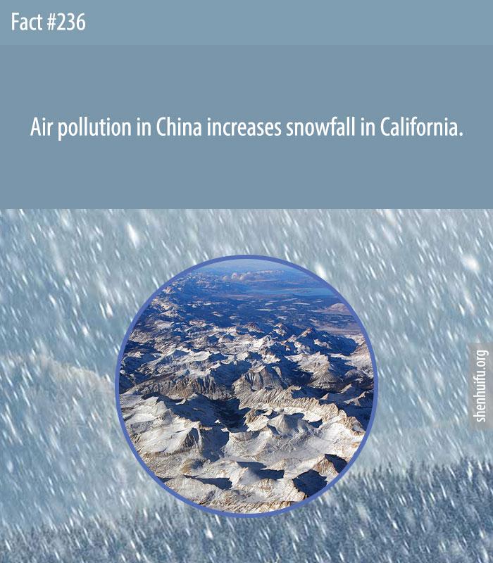 Air pollution in China increases snowfall in California.