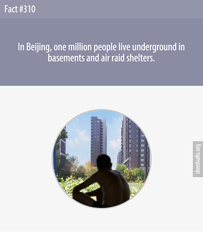 In Beijing, one million people live underground in basements and air raid shelters.