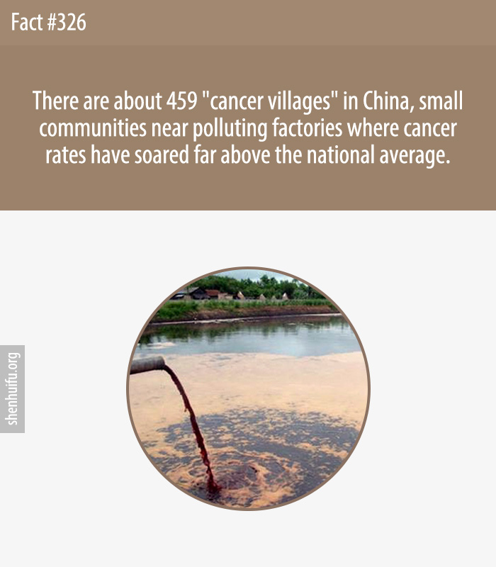 There are about 459 'cancer villages' in China, small communities near polluting factories where cancer rates have soared far above the national average.