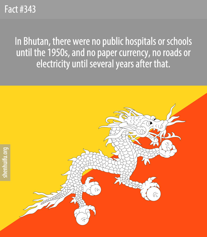 In Bhutan, there were no public hospitals or schools until the 1950s, and no paper currency, no roads or electricity until several years after that.